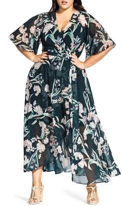 City Chic Fresh Fields Maxi Wrap Dress