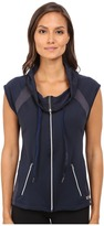 Pink Lotus Midnight Run Cool It Down Zip-Up Hooded Vest w/ Contrast Detail