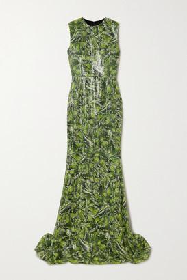 Halpern Printed Sequined Crepe Gown - Green