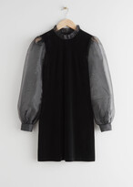 Thumbnail for your product : And other stories Organza Sleeve Velvet Mini Dress