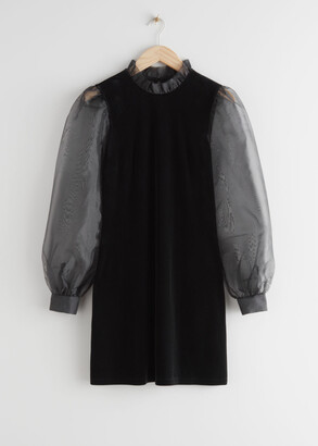 And other stories Organza Sleeve Velvet Mini Dress