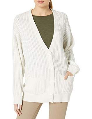 Lacoste Women's Sleeve V-Neck Long Chunky Cable Knit Cardigan