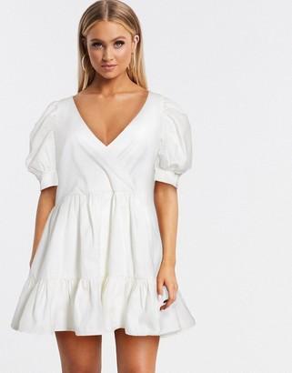 ASOS DESIGN denim puff sleeve oversized smock dress in white