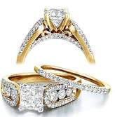 FineTresor 2.27 Carat Princess Diamond Engagement Ring Bridal Set on 14k Yellow Gold