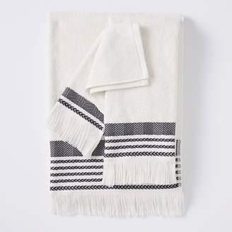 Pottery Barn Teen Boho Fringe Bath Towels, Washcloth, Ivory/Vintage Ebony