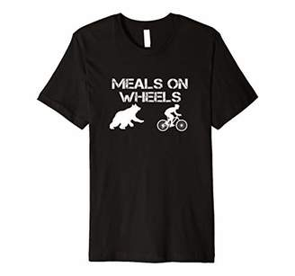 Meals On Wheels T-Shirt Bear Chasing Biking Bicycle Tee