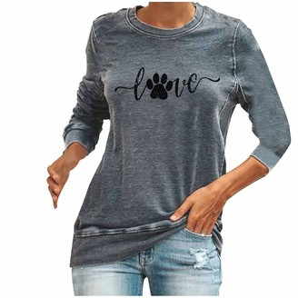Fhuuly Women's Cute Cat Paw and Love Pullover Animal Long Sleeve Tops Crewneck Blouse Jumper Solid Color Sweatshirt Top Blouse fits Sport