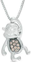 Zales Enhanced Champagne Diamond Accent Hanging Monkey Pendant in Sterling Silver