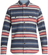 Faherty Striped cotton-jacquard long-sleeved shirt