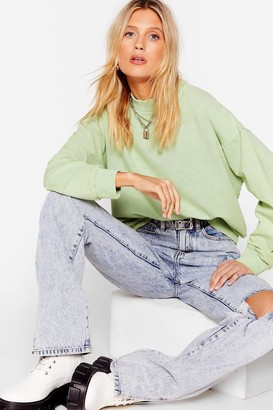 Nasty Gal Womens Oh My Wash Relaxed Sweatshirt - Green - L