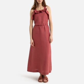 La Redoute Collections Linen Sleeveless Maxi Dress with Ruffles