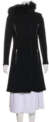 Andrew Marc Fur-Trimmed Wool Coat