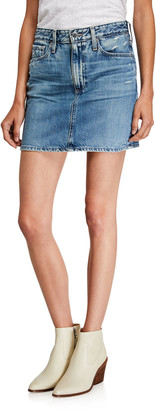 AG Jeans Vera Distressed Denim Mini Skirt