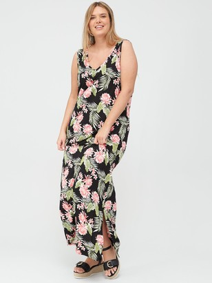 V By Very Curve Side Split Jersey Maxi Dress - Black