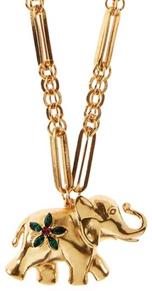 Oscar de la Renta Large Elephant Goldtone Swarovski Crystal Necklace