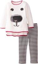 Little Lass Baby Girls' 2 Piece Fuzzy Sweater Set Stripe
