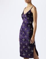 Monsoon Violet Velvet Embellished Slip Dress