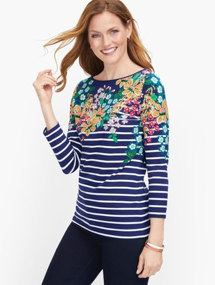 Talbots Cotton Bateau Neck Tee - Cultivated Garden
