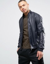 Armani Jeans Leather Bomber Jacket In Navy