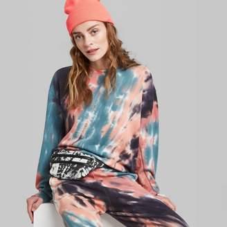 Wild Fable Women's Oversized Crewneck Tie-Dye Sweatshirt - Wild FableTM Coral/Blue