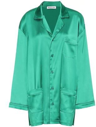 Balenciaga Oversized satin pajama shirt