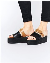 Park Lane Slide Buckle Leather Flatform Sandals