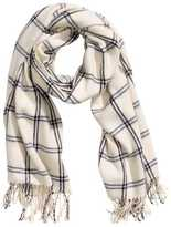 H&M Woven Scarf - White/checked - Ladies