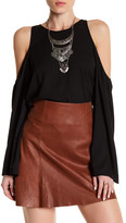 Lucca Couture Cold Shoulder Bell Sleeve Blouse