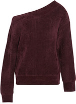 Jason Wu One-shoulder Velvet-trimmed Chenille Sweater - Burgundy