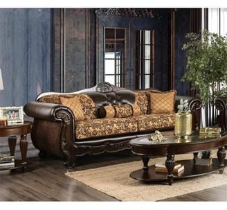 Cillian Sofa Astoria Grand Fabric: Light Brown/Dark Brown Chenille/Faux leather