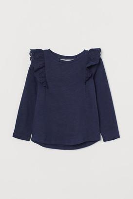 H&M Ruffle-trimmed Cotton Top - Blue