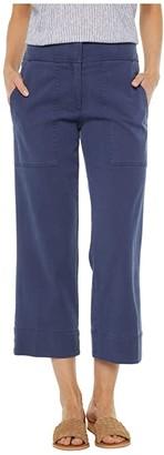 Elliott Lauren Pigment Dye Fly Front Crop Pants with Patch Pockets (Blue) Women's Clothing