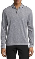 Theory Petrik Long-Sleeve Pique Polo Shirt w/Contrast Tipping, White Multi(?)