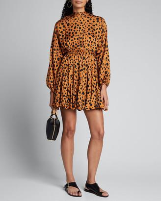 Rhode Resort Caroline Printed Satin High-Neck Dress