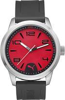 Puma Rush Men's Quartz Watch with Red Dial Analogue Display and Black Polyurethane Strap PU104041002