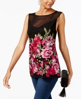 INC International Concepts Petite Embroidered Illusion Top, Created for Macy's
