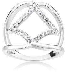 Summerrose Jewelry Summer Rose 14k White Gold 1/5ct TDW Modern Split-Shank Diamond Ring