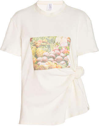 Rosie Assoulin Produce-Print Knotted Cotton T-Shirt