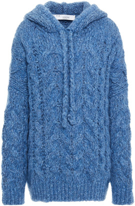 IRO Sigma Oversized Brushed Cable-knit Hooded Sweater