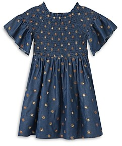 HABITUAL KIDS Girls' Marlowe Smocked Floral Embroidery Dress - Little Kid