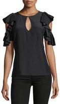 Parker Brandie Jewel-Neck Ruffled Silk Blouse