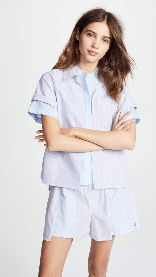Alexander Wang Combo Striped Shirting Layered Top