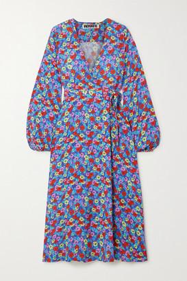 Rotate by Birger Christensen Mira Floral-print Crepe Wrap Midi Dress - Purple