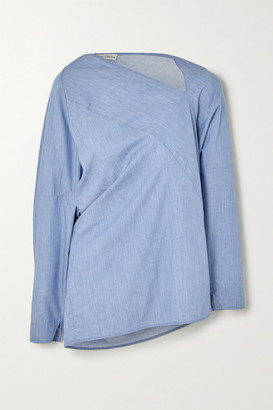Palmer Harding palmer//harding - Triangle Asymmetric Cotton-chambray Shirt - Blue