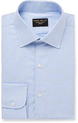 Emma Willis Light-Blue Puppytooth Cotton Shirt