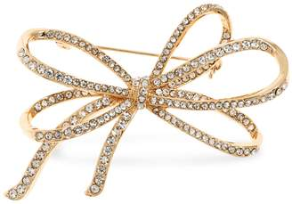 Anne Klein Boxed Goldtone Crystal Bow Pin