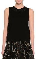 Piazza Sempione Sleeveless Embellished-Neck Top, Black