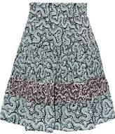 A.L.C. Shirred Pleated Printed Silk-Crepe Mini Skirt