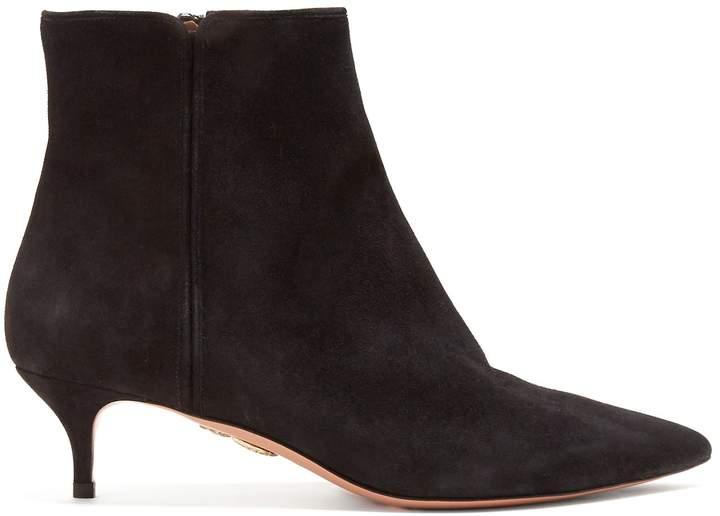 Aquazzura Quant 45 point-toe suede ankle boots