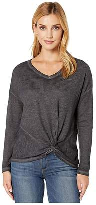 Tribal Long Sleeve Top w/ Twisted Front (Black) Women's Clothing
